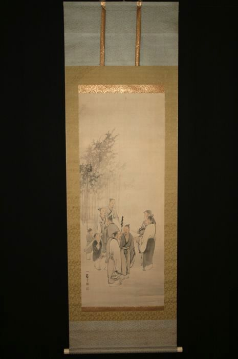 "Scroll painting after Tanaka Nikka (1773-1845) - ""Seven sages in the bamboo grove"" - Japan - Late 19th/early 20th century"