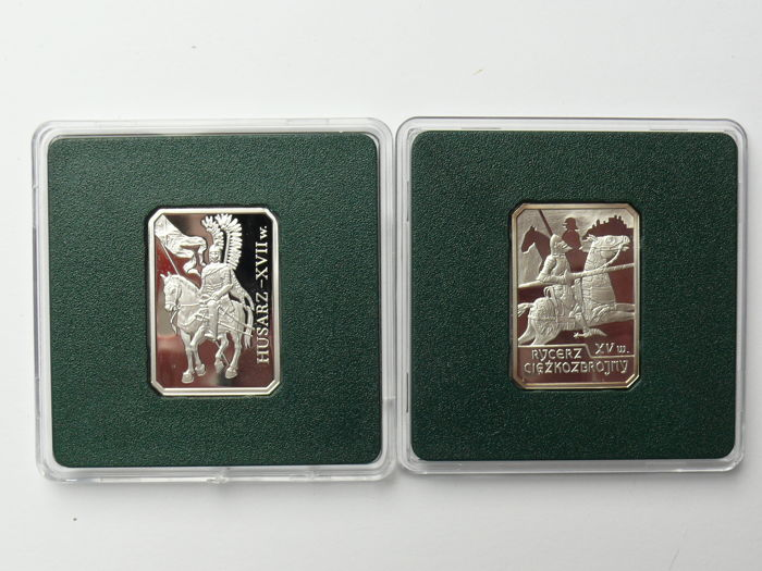 Poland - 10 zlotych 2009 'Husar' + 10 zlotych 2007 'knight in heavy armour' - silver