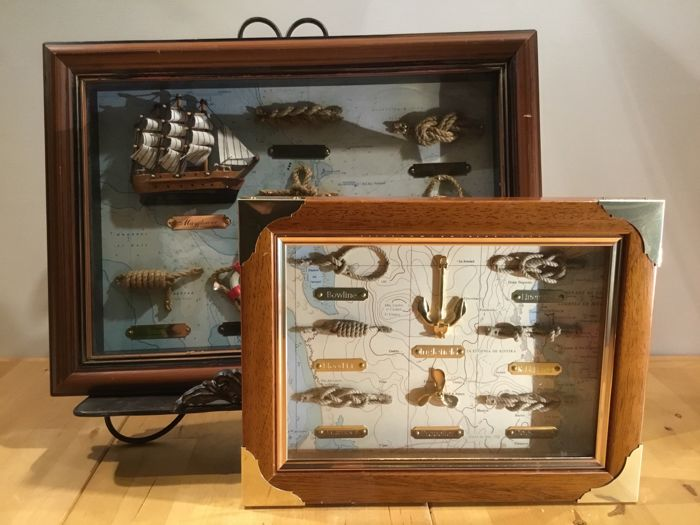 Two Showcase Cabinets With Knots And Nautical Curios