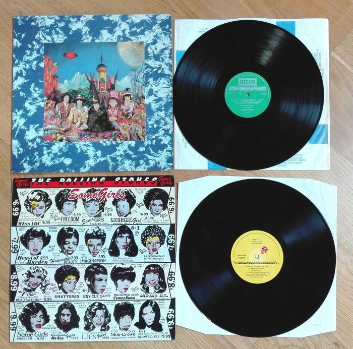 Rolling Stones Their satanic majesties request , late 60s narrow Band pressing with tab cut sleeve + Some girls , UK 1978 uncensored 1st sterling pressing