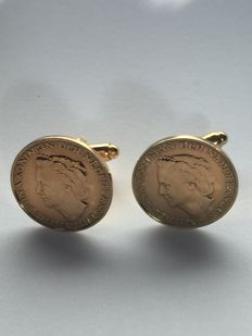 Two pairs of gold plated cufflinks, 1948, four cufflinks in total