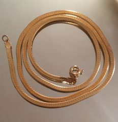"""Gold 14ct Herringbone Chain 18"""" in length features lobster clasp"""