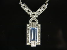 Original Art Deco silver necklace with a synthetic aquamarine spinel and marcasites, 925 Sterling silver.