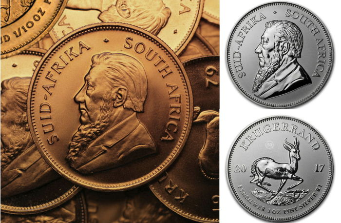 South Africa - 1 rand - 1 oz 999 silver Krugerrand - 50 years of Krugerrand - Anniversary Edition + 1/10 oz Krugerrand gold / gold coin