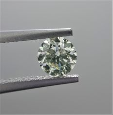 0.51ct Round Brilliant Cut Diamond Light Yellow Green VS2 #1011