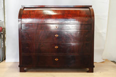 A mahogany and fruitwood Biedermeier secretaire, Northern Europe, tweede kwart 19e eeuw