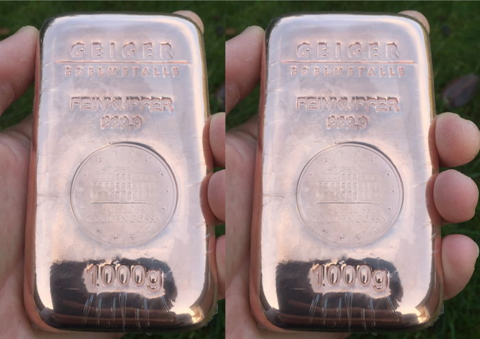 Geiger copper bar 2 x 1 kg - 1000 grams 999 copper - poured Güldengossa Castle edition - with serial number