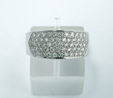 18k white gold ring with diamond 0,75ct - size 55,5