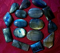 Natural Multi Labradorite Multi Flash Mix Cabochon - Lot 620 Cts 16Pcs