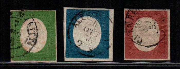 Sardinia 1854 - 5, 20, 40 cent. with portrait of Vittorio Emanuele II – Sass. Nos. 7/8 and 9a