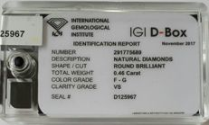 Lot of 3 brilliant cut diamonds of in total 0.46ct F-G colour IGI certificate VS