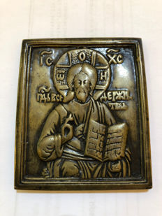 Bronze icon of Christ Pantocrator - Russia - 18th/19th century