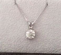 1.07 ct Round Diamond Pendant - E / SI2 - in 14k white gold + 14K Gold Chain