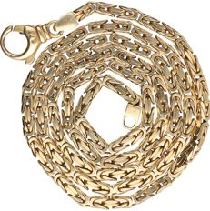 14 kt Yellow gold king's braid link necklace.  - length x width: 64 x 0.4 cm