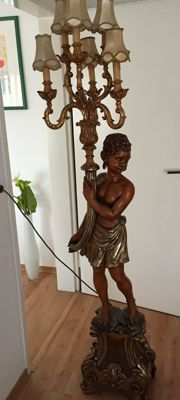Statue with floor lamp - five light points - Blackamoor floor lamp - woodcarving from Rottach-Egem - 1981 - height 183 cm