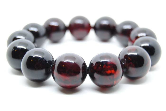 Bracelet Baltic Amber Dark Cherry color round beads, 40 grams