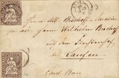 Switzerland 1854-62 - Federal Post 5 rappen, brown, medium paper, cancelled Basel stamp on taxed letter - Yvert no. 26
