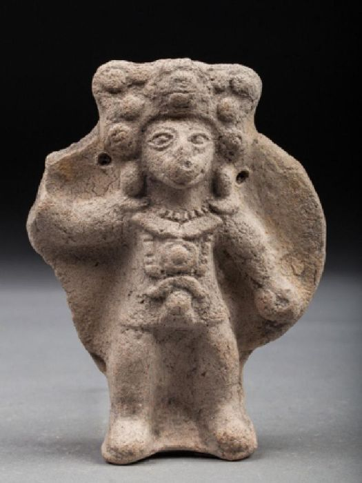 Pre-Columbian Tumaco La Tolita culture figure of a warrior with a large shield - Ecuador - 13 cm