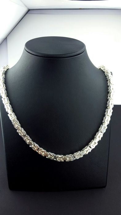 925 Sterling Silver Men's  Chain, Byzantine King's Chain, Length 60 cm, Total 133 g