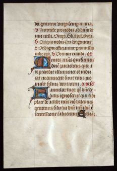 Manuscript; Leaf from a book of hours on vellum illuminated with gold and miniaturised initials - 15th century