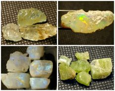 Collection of natural crystals opal, peridot, moonstone & aquamarine - 160 ct