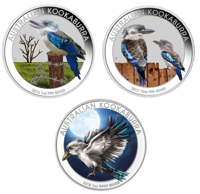 Australia - 3 x 1 dollar kookaburra 2016 + 2017 + 2018 - 3 x 1 oz of 999 silver - Exclusive colour edition