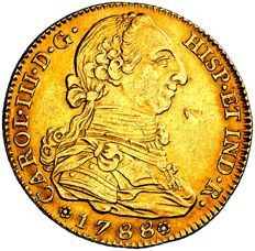 Spain - Charles III (1759 - 1788), gold doubloon of 4 escudos Madrid, 1788 M / P·J Scarce.