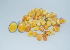 Set of Natural Baltic Amber necklace and earrings, butterscotch, egg yolk Amber, weight: 34 gram