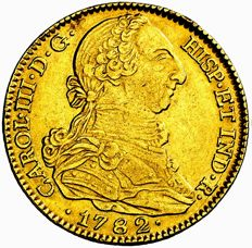 Spain - Charles III (1759 - 1788), doubloon of 4 gold escudos Madrid, 1782 J.D. Very scarce
