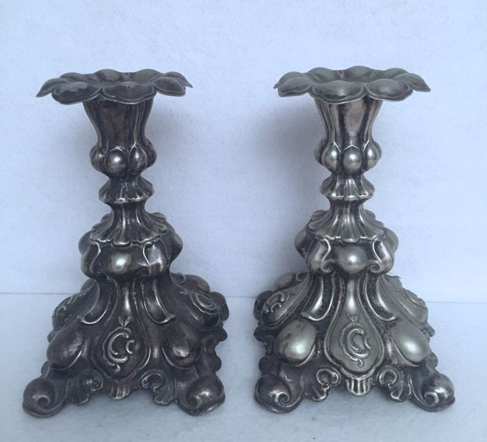 Pair of candlesticks, Italy, Genoa, 18/19th century