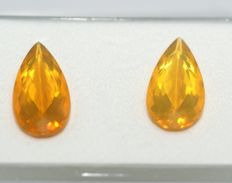 2 Fireopals (Pair) , orange   total 12.04 ct