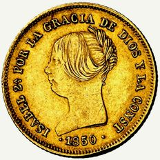 Spain – Isabel II (1833–1868), doubloon of 100 reales Madrid – 1850 – Gold Rare