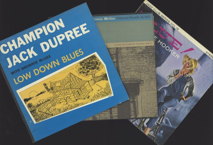 Champion Jack Dupree, Brownie McGhee and John Lee Hooker - Lot of three rare early blues albums