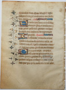 Manuscript; Original illuminated manuscript from France - 15th century