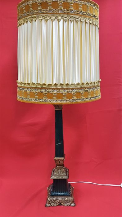 Large Brass Table Lamp With Fabric Shade Catawiki