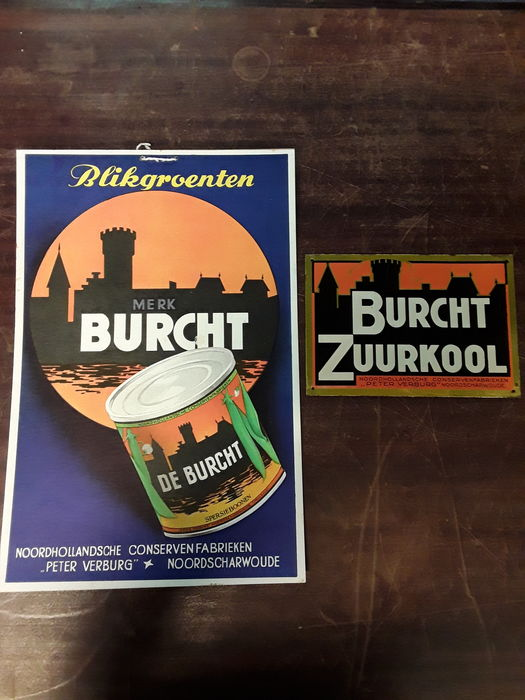 Burcht zuurkool Nice intact set of old advertising material, cardboard sign and tin sign Burcht zuurkool