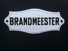 "Old enamel sign ""Brandmeester"" (Fire Station Manager) - ca 1920."
