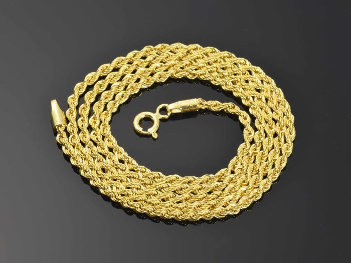 18k Gold Necklace. Chain. Rope. Length 50 cm.