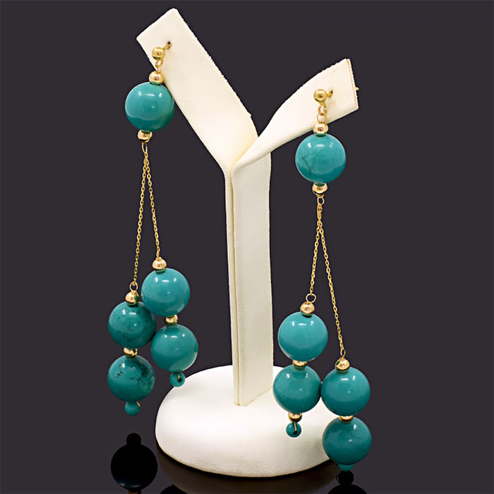 18kt/750 yellow gold earrings with turquoises – Length 83 mm.