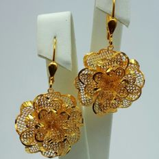 22 Ct Gold Rose Earrings, New ( Unused ) ***INVEST IN BULLION GOLD JEWELRY ***