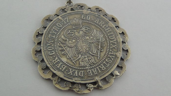 Maria Theresia Silver Coin Pendant On A Necklace 1760 Necklace