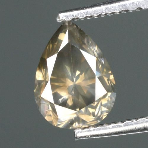 0,76 ct Pear cut Diamond natuurlijke ONBEHANDELDE FANCY GRAY I1