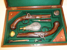 "Pair of  French Officer "" Luis XV"" pistols ( 1717/1774)  transformed into percussion late 1820`s, in case."