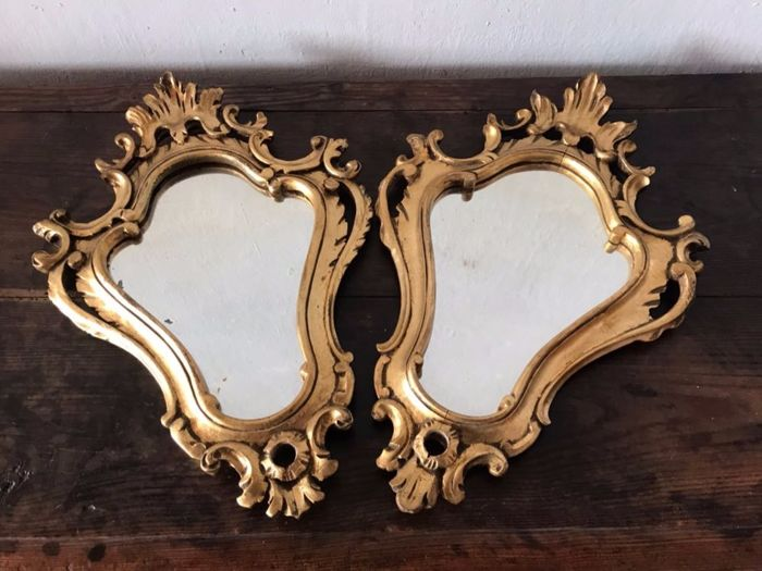 A pair of small mirrors with gilt wood frames - Northern Italy, 19th ...