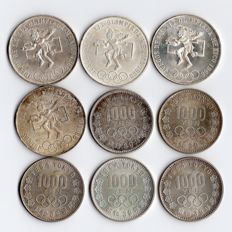 Japan and Mexico - 25 Pesos 1968 (4 pieces) + 1000 Yen 1964 (5 pieces) 'Olympic Games' (total 9 pieces) - silver