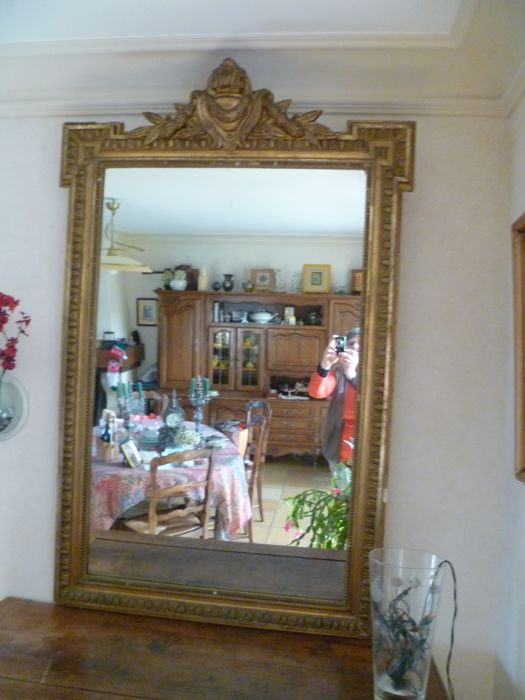 Large golden framed mirror, 20th century