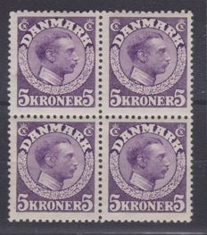 Denmark 1920 - Block of four - King Christian X - 5 K violet-red, Unificato no. 116A