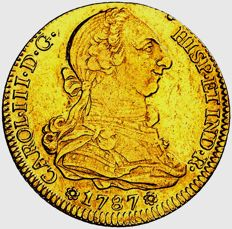 Spain - Charles III (1759 - 1788), gold doubloon of 4 escudos Seville, 1787 C·M Scarce