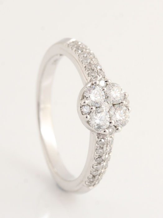 Ring - White gold - Natural (untreated) - Diamond and Diamond