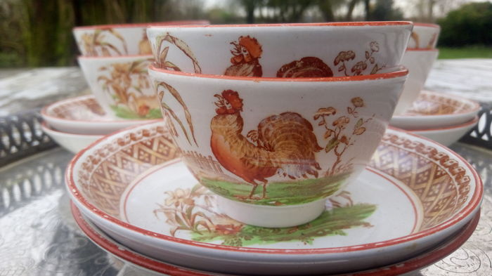 Petrus Regout Maastricht Earthenware Decoration ROOSTER 40 Cups Interesting Decorative Cups And Saucers